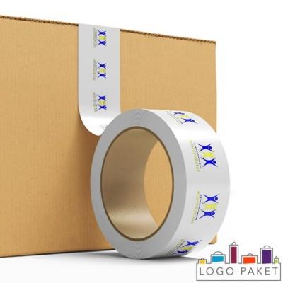 Скотч с двухцветным логотипом оклеивание коробок