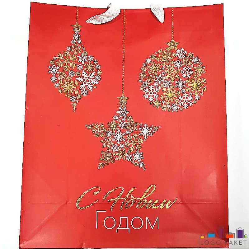Бумажный подарочный пакет С новым годом