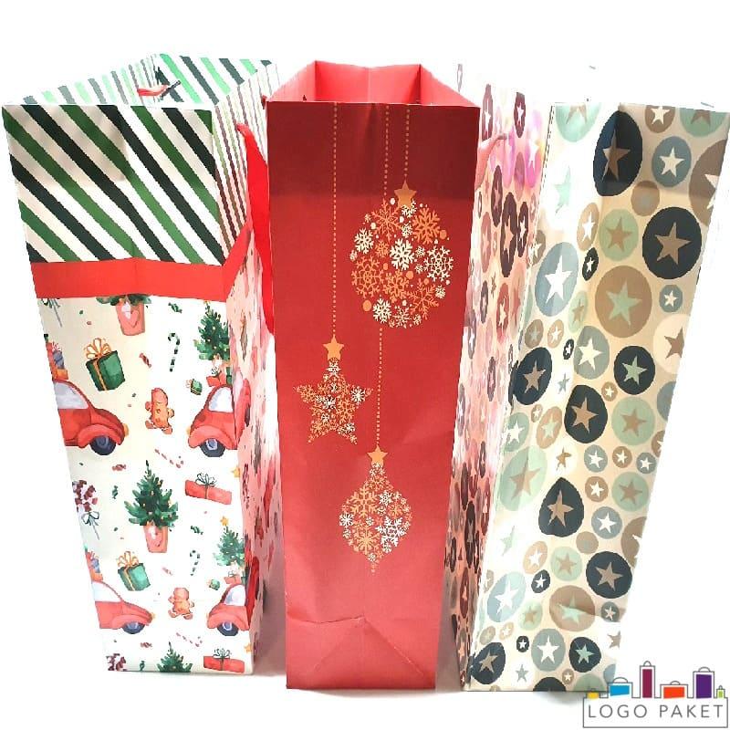 Подарочные пакеты бумажные вид сбоку