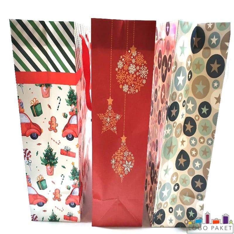 Праздничные пакеты бумажные вид сбоку