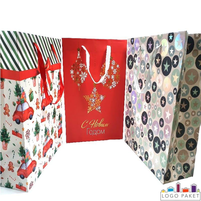 Праздничные пакеты из мелованной бумаги с рисунком