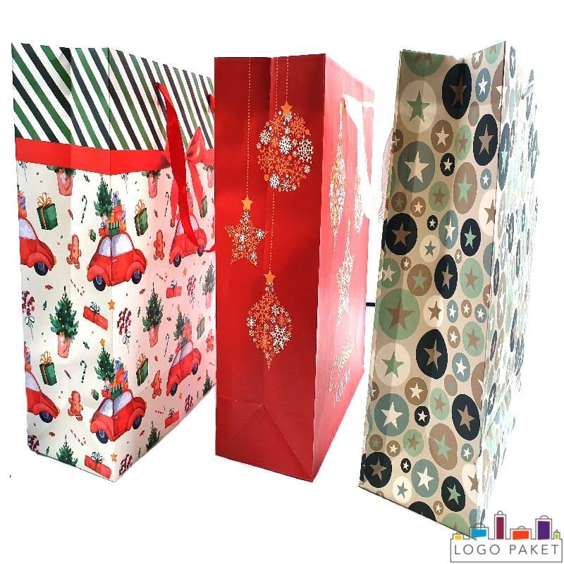 Праздничные пакеты из мелованной бумаги с нанесенным изображением