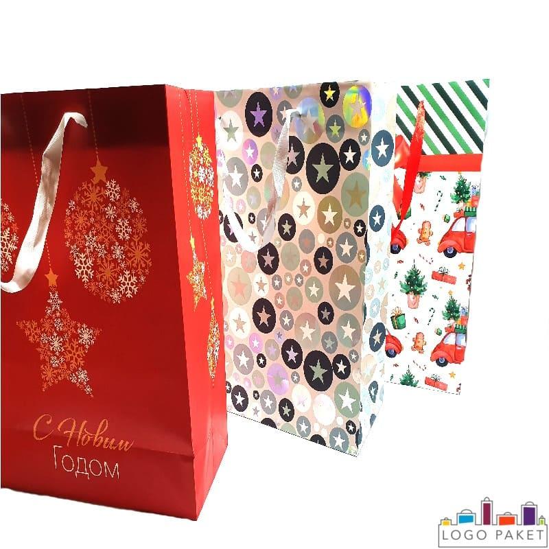 Пакеты из мелованной бумаги праздничные