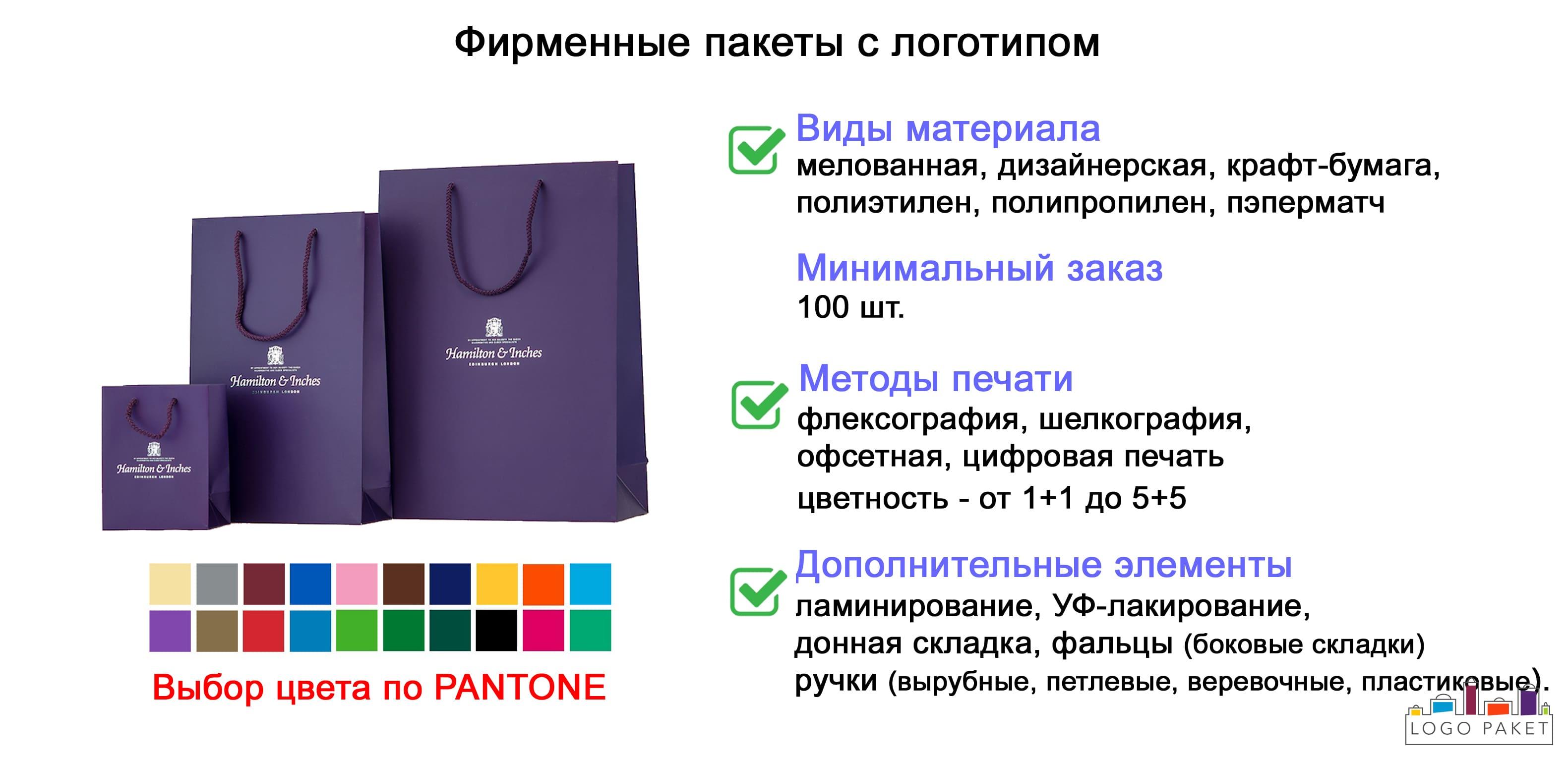 Фирменные пакеты с логотипом инфографика