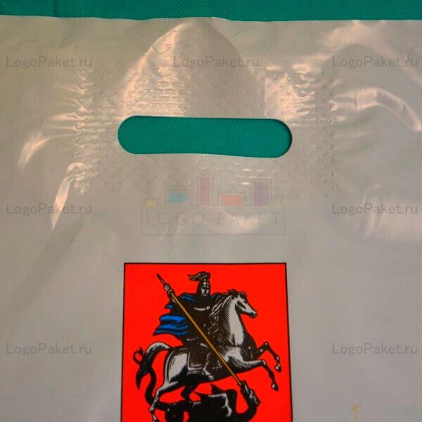 пакет с вырубной укрепленной ручкой с изображение герба
