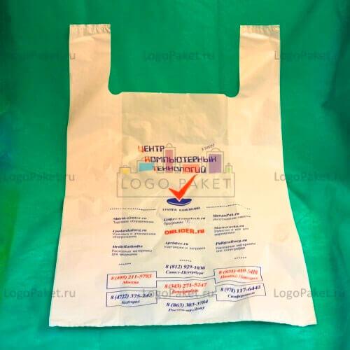 пакет майка с нанесенной информацией и лого