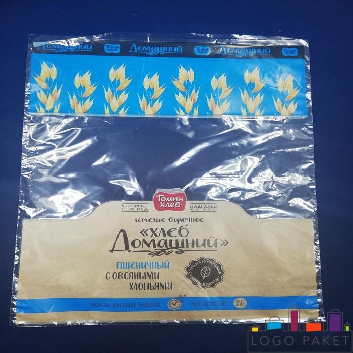 ПП пакеты с донной складкой, с печатью, полупрозрачный для хлеба