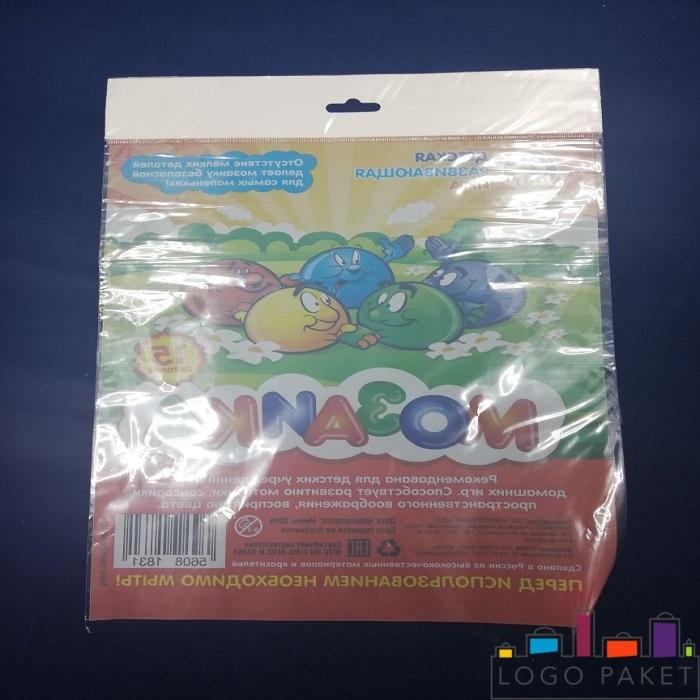 Полипропиленовый пакет с печатью и  донной складкой и еврослотом обратная сторона