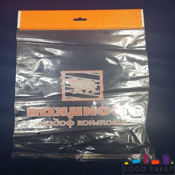 Полипропиленовый пакет с клеевым клапаном, донной складкой и еврослотом оранжевый с печатью