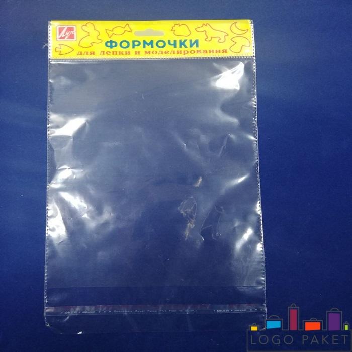 Полипропиленовый пакет с клеевым клапаном, донной складкой и еврослотом желтый с печатью