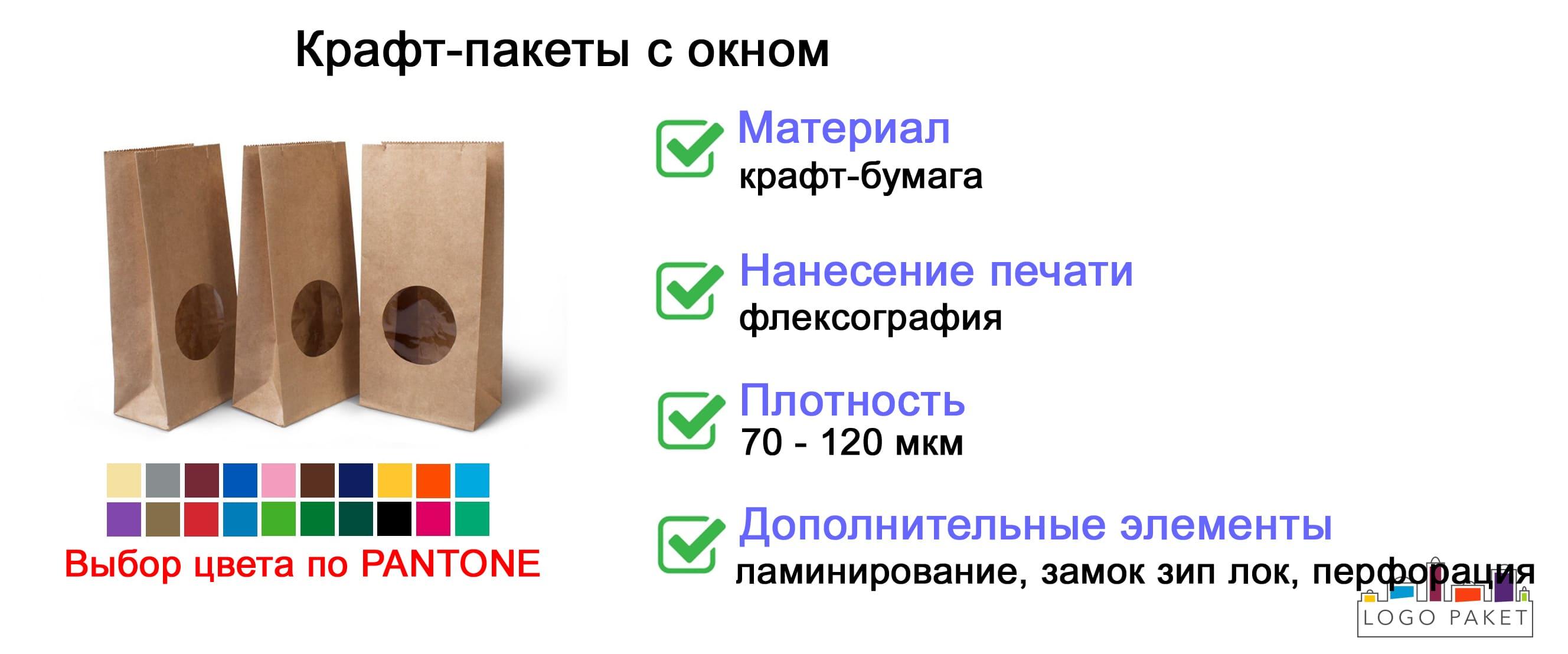 Крафт-пакеты с окном инфографика