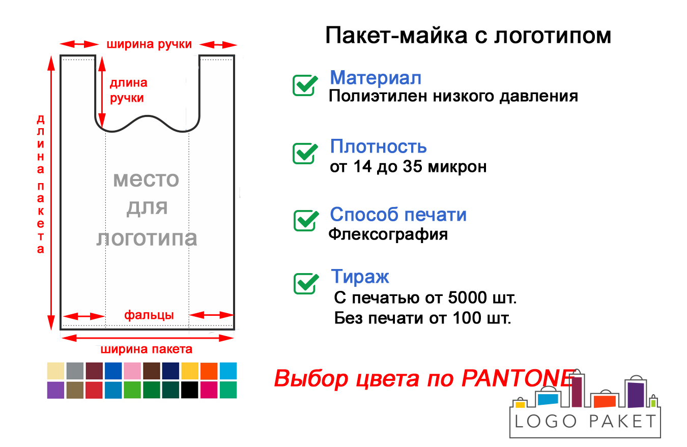 Пакет майка 29х53 см инфографика