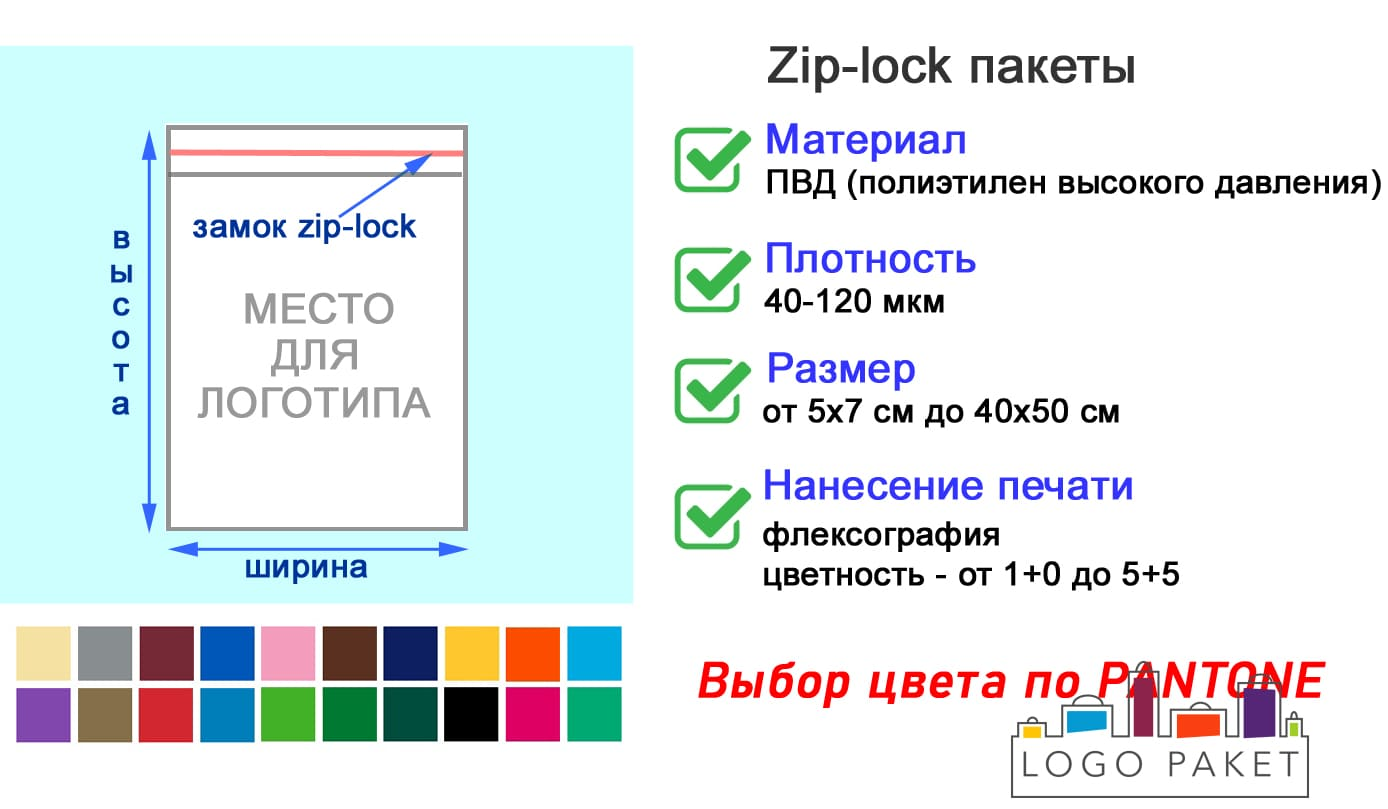 Пакеты zip-lock 5х7 см инфографика