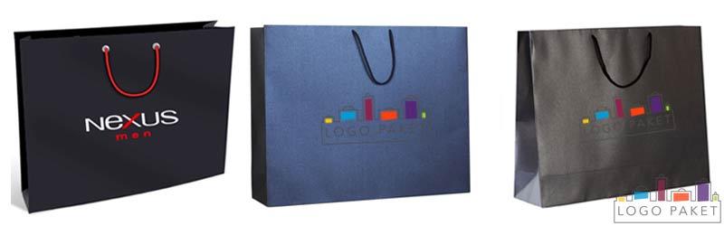 Пакеты с логотипом из мелованной бумаги горизонтальные с ручками