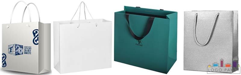 Примеры пакетов из мелованной бумаги квадратного типа с ручками и логотипом