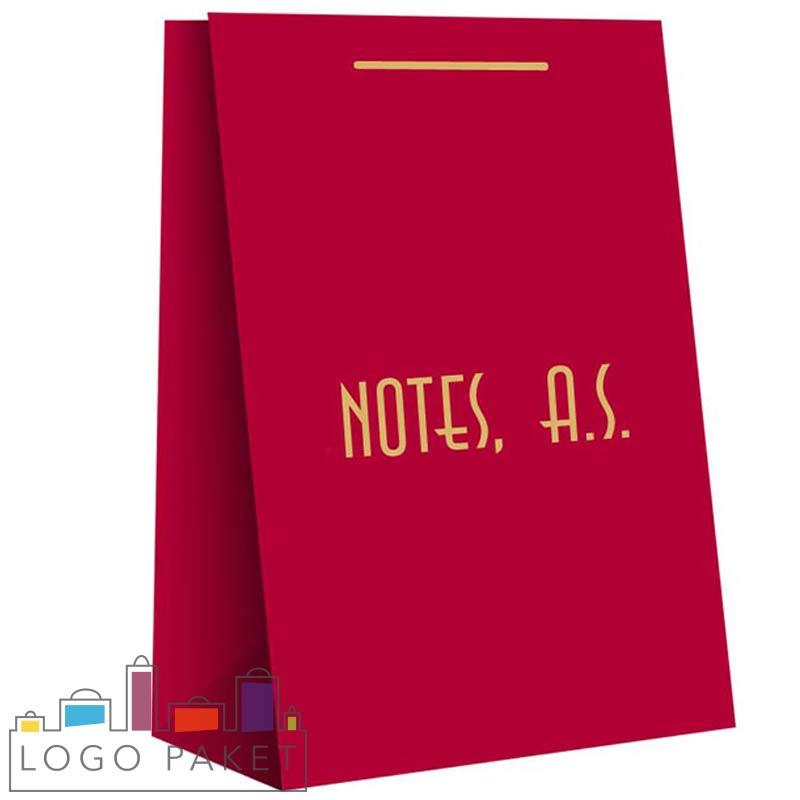 пакет с ручками из мелованной бумаги красный