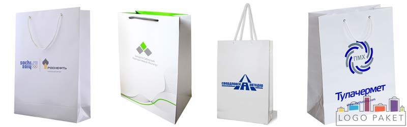 Примеры вертикальных пакетов из мелованной бумаги с логотипами и ручками