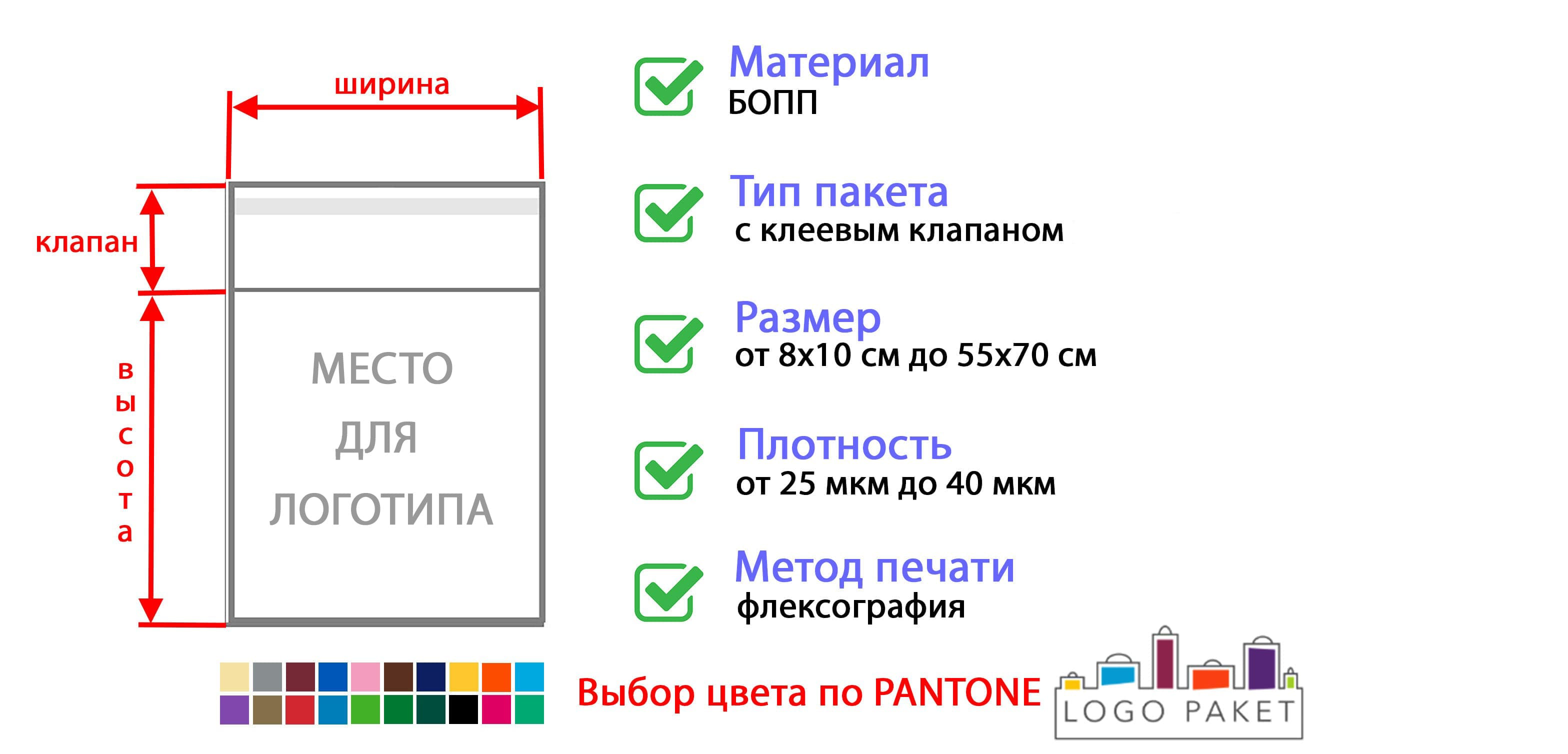 БОПП пакет с клеевым клапаном инфографика