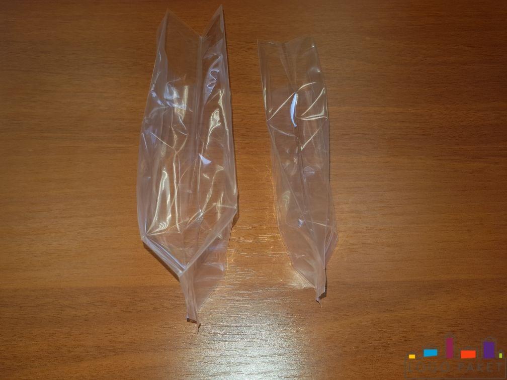 Прозрачный двухшовный БОПП пакет с центральным швом, вид сбоку