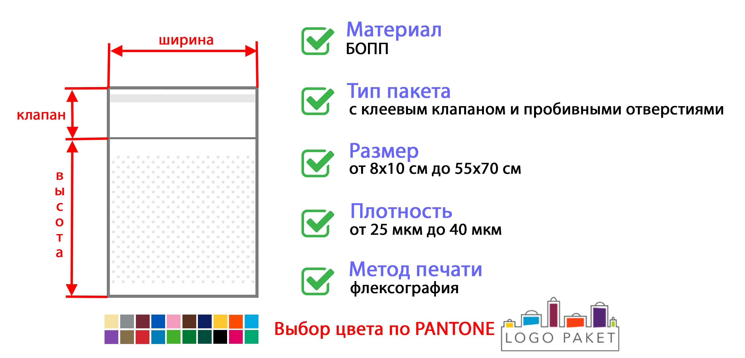 БОПП пакет с клеевым клапаном и пробивными отверстиями инфографика