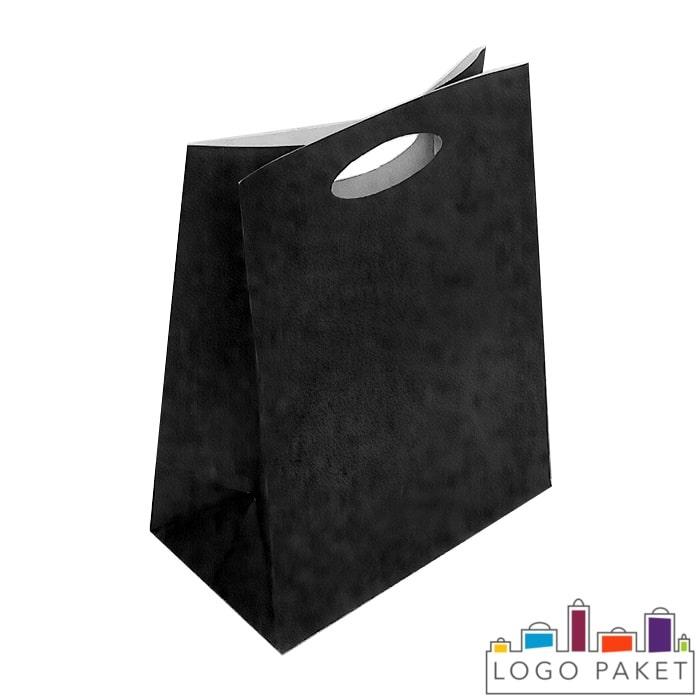 Крафтовые пакеты черные с вырубной ручкой