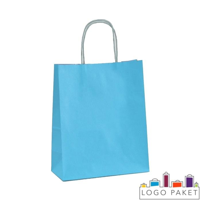 Крафтовые пакеты голубые с кручеными ручками