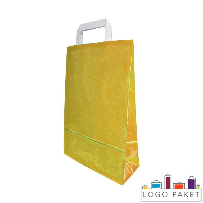 Крафтовые пакеты оранжевые с плоскими ручками