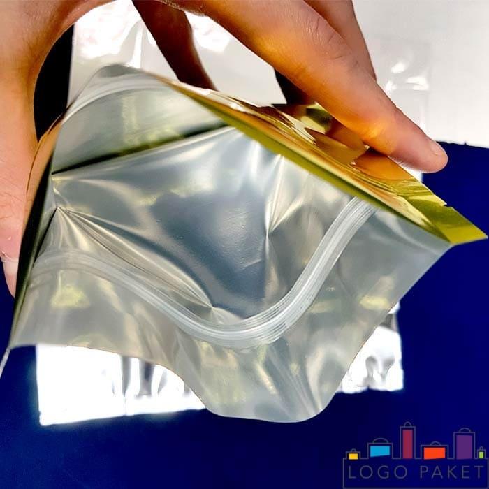 Металлизированный дой пак пакет золотом внутри с застежкой зип лок