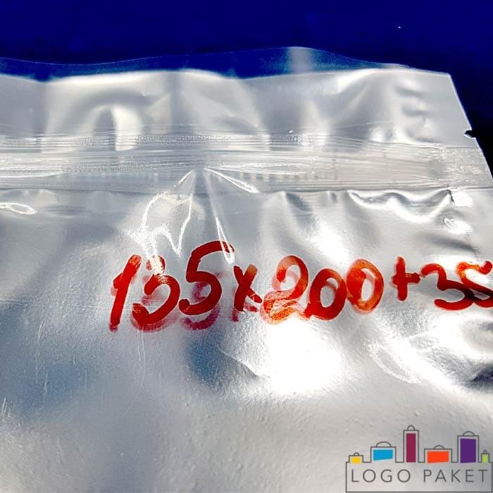 Дой пак пакет металлизированный серебром с отверстием размером 135х200х35