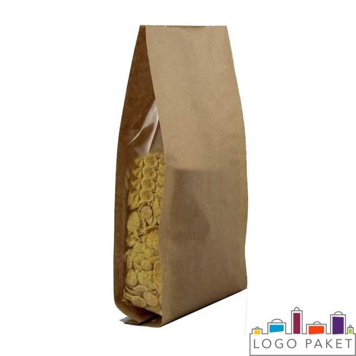 Кукурузные хлопья в крафт-пакете с прозрачными боковыми вставками