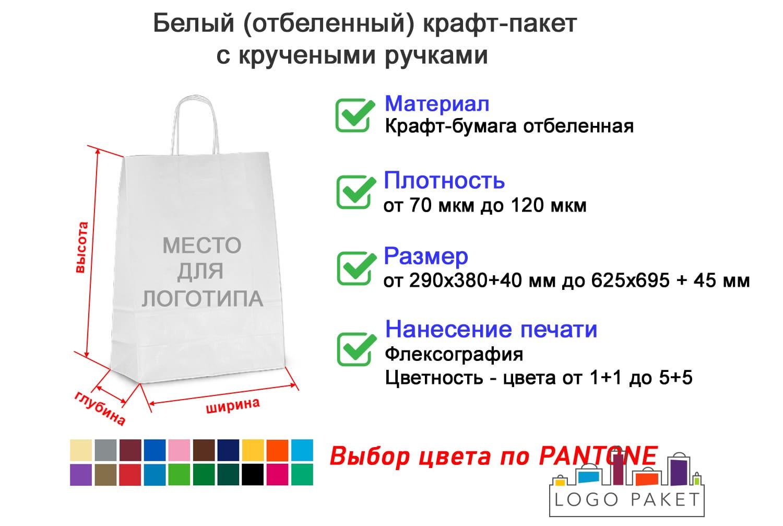 Белый крафт-пакет с кручеными ручками инфографика