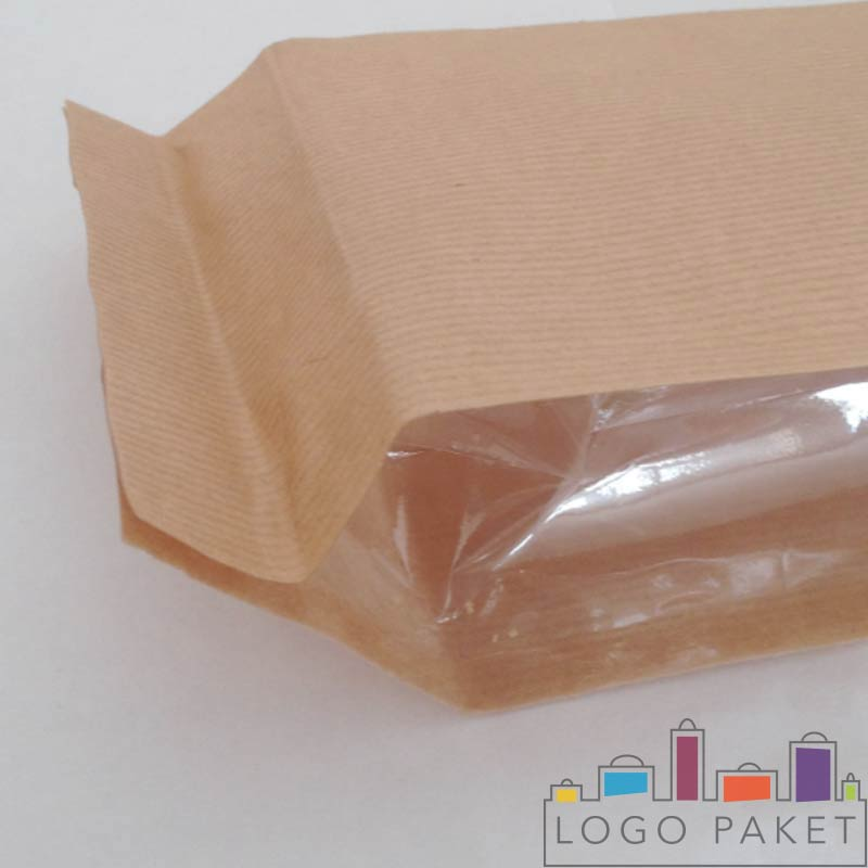 Крафт пакеты с прозрачными боковыми фальцами, с боку