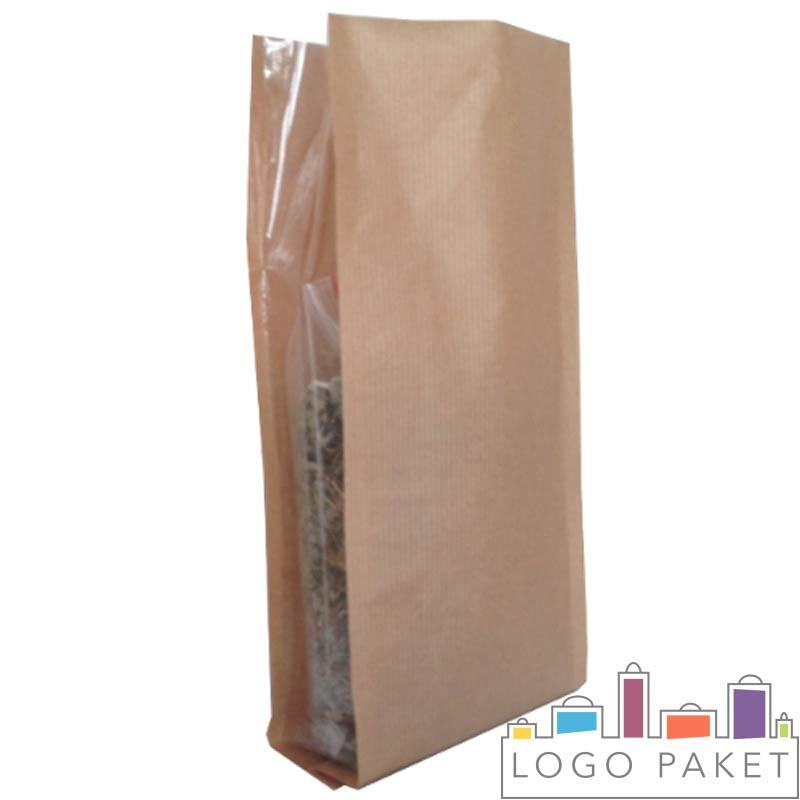 Крафт пакеты с прозрачными боковыми фальцами