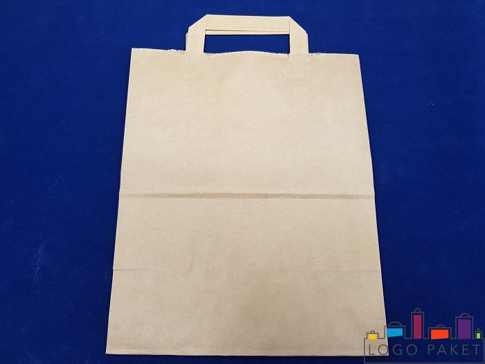 крафт пакет без печати с плоской ручкой