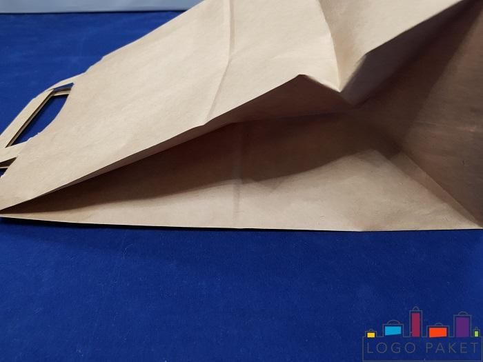 крафт пакет с плоскими ручками вид сбоку
