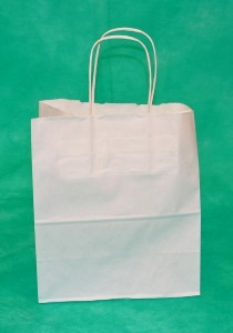 Купить оптом у производителя крафт пакеты, белый цвет, размер 20х18х8
