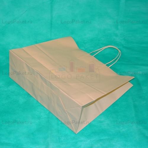 Производство крафт пакетов цвет бежевый 28х32х13 с кручеными ручками