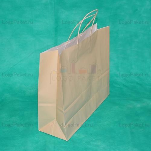 Производство крафт пакетов цвет бежевый 31х36х12 с кручеными ручками