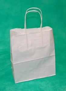 Заказать белый крафт пакет с кручеными ручками 32х24х11 оптом у производителя