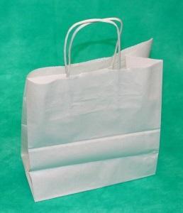 Купить крафт пакет 32х39х13 белого цвета с крученными ручками у производителя Логопакет