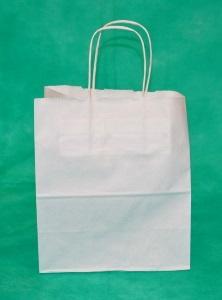 Белый крафт пакет с кручеными ручками.