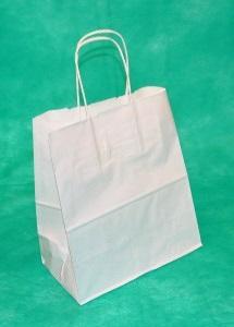 образец белого крафт пакета 34,5х26х11 с кручеными ручками.