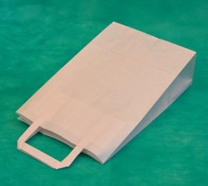 образец белого крафт пакета 28х24 с плоскими ручками