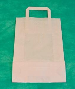 образец белого крафт-пакета 34х22 с плоскими ручками