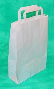 образец белого крафт-пакета 43х32 с плоскими ручками