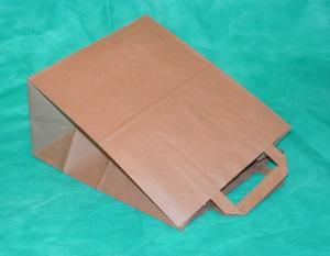образец пакета из крафт-бумаги 48х44,5 см с плоскими ручками