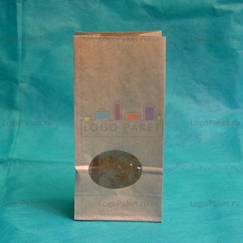 Крафт-пакет размером 170 х 80 х 50 мм с округлым прозрачным окном