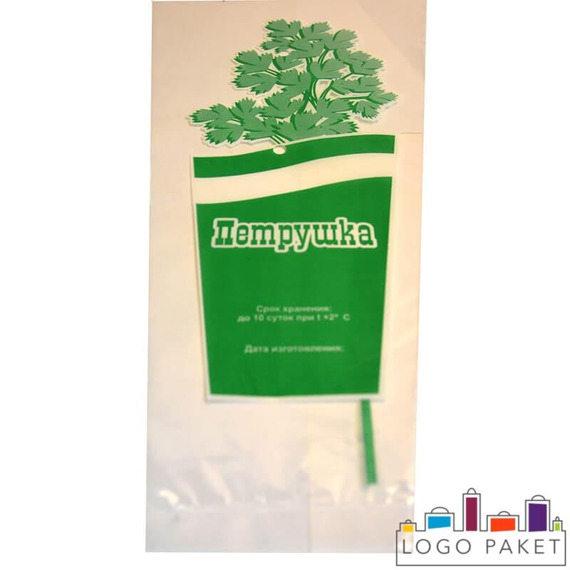 Пакет для петрушки, зелёный логотип с надписью «Петрушка», вид спереди
