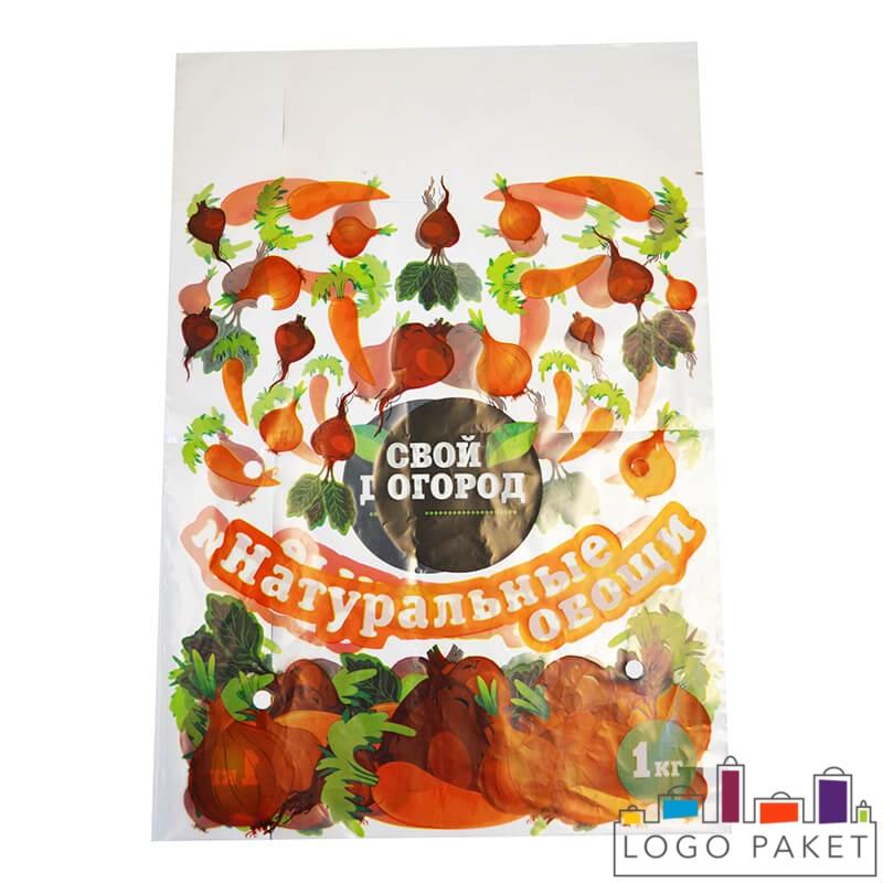 Пакет для овощной смеси с окошком и с нарисованными овощами
