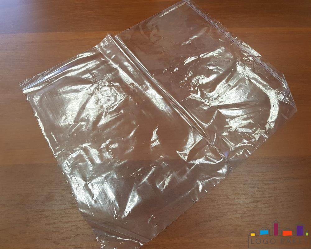 Полипропиленовые пакеты с клеевым клапаном, Прозрачный, Большой, вид сверху под углом